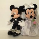 "Disney Parks Mickey and Minnie Mouse Wedding Plush 11"" Plush Doll Set NEW W/ TAG"