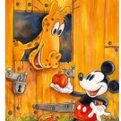 Disney Parks Mickey Mouse in Apple Time Deluxe Print by Randy Noble NEW