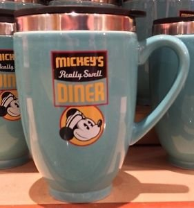 NEW Disney Parks MICKEY'S REALLY SWELL DINER Ceramic Travel Coffee Mug Cup