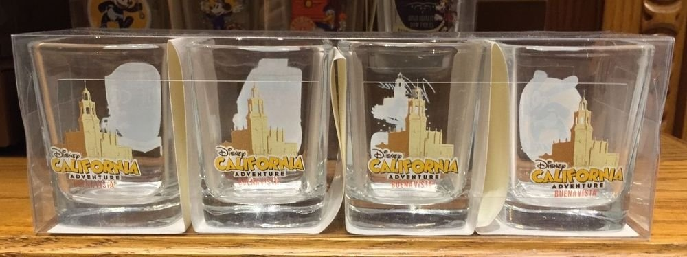 Disney Parks DCA Buena Vista OSWALD MICKEY DONALD GOOFY Shot Glass Cup Set of 4