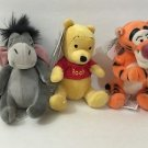 "DISNEY PARKS MAGNET PLUSH DOLL SET 4"" WINNIE THE POOH EEYORE & TIGGER SET OF 3"