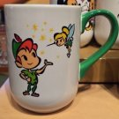 DISNEY PARKS CARTOON PETER PAN AND TINKER BELL CERAMIC COFFEE / TEA MUG CUP NEW