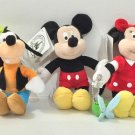 "DISNEY PARKS MAGNET PLUSH DOLL SET FAB 5 MICKEY MINNIE DONALD PLUTO GOOFY 4"" NEW"