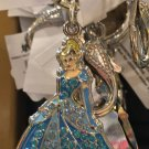 DISNEY PARKS SPARKLING CINDERELLA DANGLING METAL KEYCHAIN NEW WITH TAGS