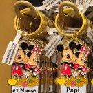 """Disney Parks Mickey Minnie Pluto Keychain """"#1 Nurse / Papi"""" New With Tags"""