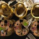"Disney Parks Mickey Minnie & Goofy Initial Letter Keychain ""A / B / C / D"" New"