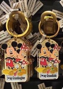 Disney Parks Mickey Minnie Pluto Keychain I Love My Granddaughter / Grandkids