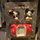 Disney Parks Mickey and Minnie Mouse in Fun Car Salt & Pepper Shakers New in Box