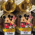 Disney Parks Mickey Minnie Pluto Keychain Lisa / Liz New