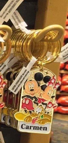 """Disney Parks Mickey Minnie Pluto Keychain """"Carmen"""" New"""