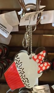Disney Parks Minnie Mouse Cupcake Mirror with Bow Keyring Keychain New