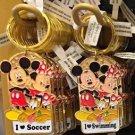 Disney Parks Mickey Minnie Pluto Keychain I Love Soccer / I Love Swimming New
