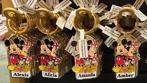 "Disney Parks Mickey Minnie Pluto Keychain ""Alexis / Alicia / Amanda / Amber"" New"