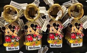 Disney Parks Mickey Minnie Pluto Keychain Maria / Melissa / Michael / Mary New