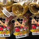 Disney Parks Mickey Minnie Pluto Keychain #1 Boss / #1 Brother / California New
