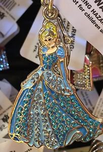 Disney Parks Cinderella with Rhinestones Metal Keychain New With Tags
