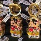 Disney Parks Mickey Minnie Pluto Keychain Chloe / Chris / Christina / Cindy New