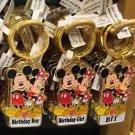 Disney Parks Mickey Minnie Pluto Keychain Birthday Boy / Birthday Girl / Bff New