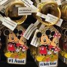 "Disney Parks Mickey Minnie Pluto Keychain ""#1 Aunt / #1 Baby Sitter "" New"