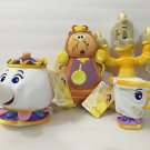 Disney Store Beauty & the Beast Plush Set Lumiere Cogsworth Mrs Potts & Chip Cup