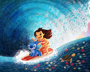 Disney WonderGround Lilo & Stitch Hawaiian Roller Coaster Print Nidhi Chanani