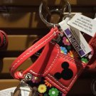 Disney Parks Mickey Mouse Red Bag Flower Pattern Keychain New With Tags