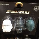 Disney Parks Star Wars Storm Trooper Darth Vader and Boba Fett Eraser Set New