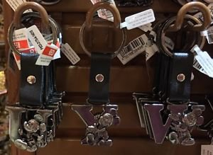 """Disney Parks Mickey Mouse Leather Strap Initial Letter Keychain """"U / Y / W"""" New"""