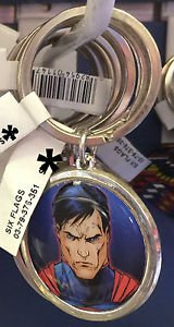 Six Flags Magic Mountain Superman Face Keyring Metal Keychain New