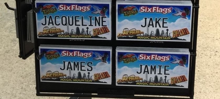 Six Flags Magic Mountain Name Magnet Jacqueline Jake James Jamie New