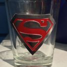 Six Flags Magic Mountain DC Superman Clear Shot Glass Toothpick Holder New