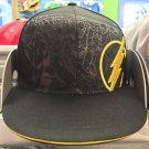 Six Flags Magic Mountain The Flash Black/Yellow Adjustable Snapback Hat Cap New