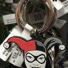 Six Flags Magic Mountain Harley Quinn Face Keyring Rubber Keychain New