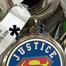 Six Flags Magic Mountain DC Justice League Superman Shield Metal Keychain New
