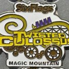 Six Flags Magic Mountain Twisted Colossus White Yellow Motion Metal Magnet New