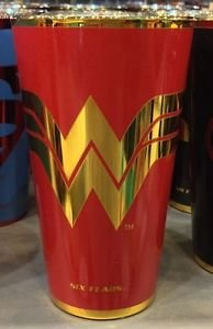 Six Flags Magic Mountain DC Wonder Woman Logo Electroplated Pint Glass New