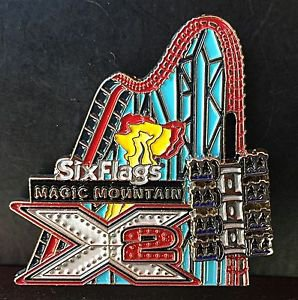 Six Flags Magic Mountain X2 Coaster Motion Metal Magnet New