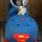Six Flags Magic Mountain Justice League Superman Rubber Hat Cap Keychain New