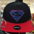 Six Flags Magic Mountain DC Superman Pleather Contrast Snapback Hat Cap New