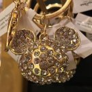 Disney Parks Gold Plated Mickey Mouse Head with Crystals Metal Keychain New