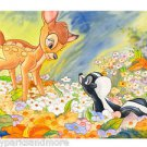 Disney Parks Bambi & Flower Deluxe Print by Randy Noble New