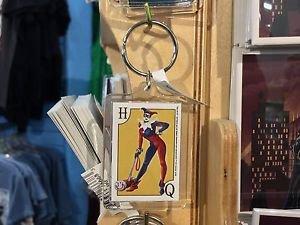 Six Flags Magic Mountain DC Villains Harley Quinn Clear Acrylic Keychain New