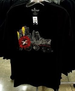 Six Flags Magic Mountain Coaster X-2 California Men's Black Shirt New