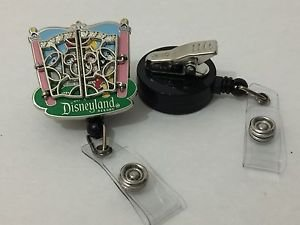 Disneyland Gates Mickey Mouse Retractable Badge ID Holder Swivel Alligator Clip