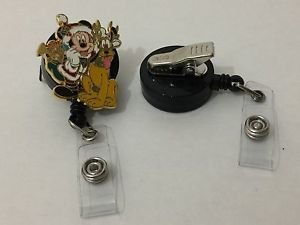 Disney Santa Mickey & Pluto Retractable Badge ID Holder w/ Swivel Alligator Clip