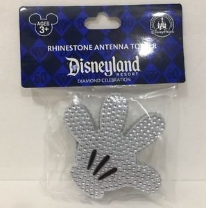 Disneyland 60th Diamond Celebration Rhinestone Mickey Hand Antenna Topper New