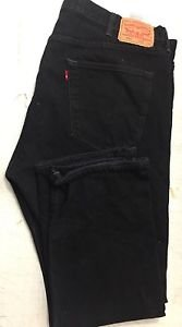 Levi Strauss 501 Button Fly Straight Leg Black Jeans Red Tag 42 x 30 USED