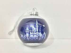 Disneyland 60th Diamond Celebration Castle Christmas Ornament Set of 2 New