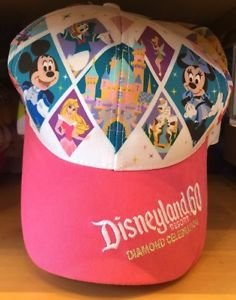 DISNEY DISNEYLAND DIAMOND CELEBRATION 60TH ANNIVERSARY PINK CAP HAT NEW