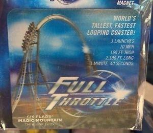Six Flags Magic Mountain Full Throttle 6-D Motion Lenticular Magnet New